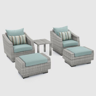 Cannes 5-Piece Wicker Patio Chat Furniture Set - Blue