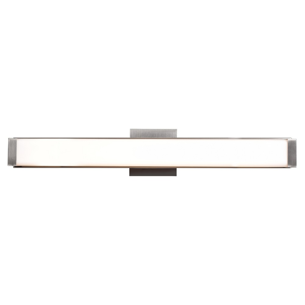 Fjord 26W Led Vanity Light - Brushed Steel - Opal Glass Shade, Silver