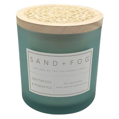 25oz Driftwood and Pineapple Scented 3-Wick Candle - Sand + Fog