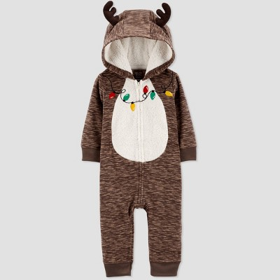 Baby Girls' Reindeer Lights Rompers - Just One You® made by carter's Brown 6M