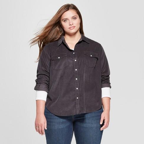 52528d7d95e Women s Plus Size Long Sleeve Corduroy Western Shirt - Universal Thread™