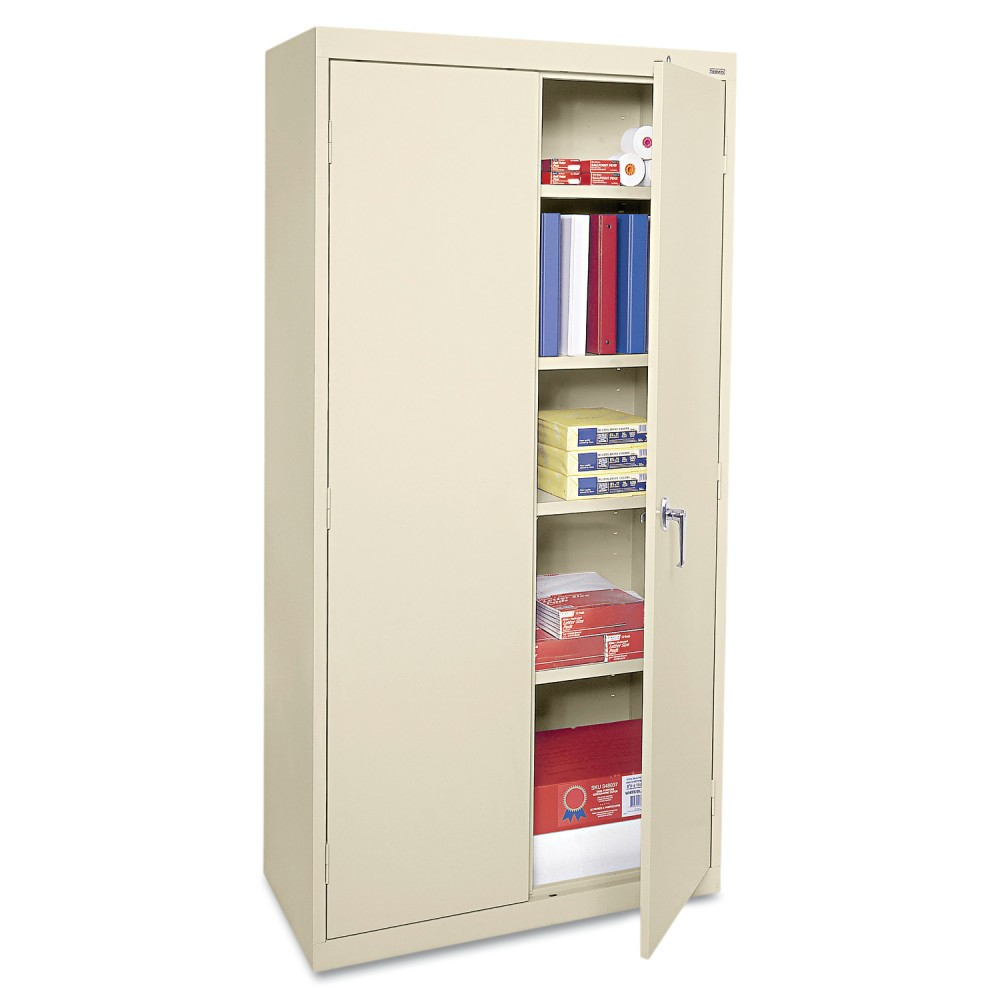 Image of Alera Economy Assembled Storage Cabinet, 36w x 18d x 72h, Putty, Gray