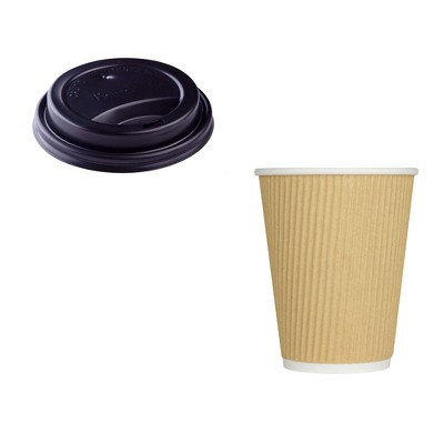 Karat Hot Drink Sipper Polypropylene Plastic Dome Lid with 8 Ounce Ripple Grip Recyclable Beige Paper Cups (500 Pack)