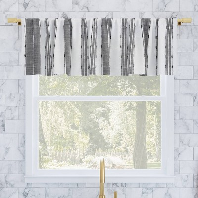 "14""x52"" Slub Texture Striped Cotton Cafe Window Valance Black/White - Archaeo"