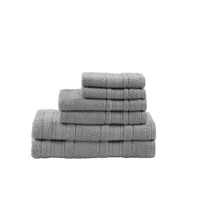 Roman Super Soft 6pc Cotton Bath Towel Set Silver (27x52 )