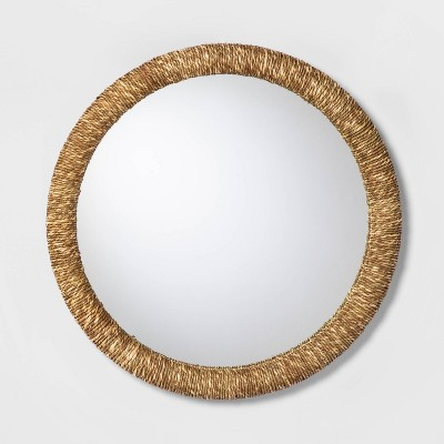 "21.8"" Round Mirror with Sea Grass Woven Border Brown - Threshold™"