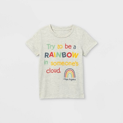 Toddler Boys' Maya Angelou Rainbow Short Sleeve Graphic T-Shirt - Off-White