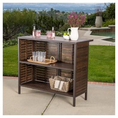 Milos 3pc Acacia Bar Set - Dark Brown - Christopher Knight Home