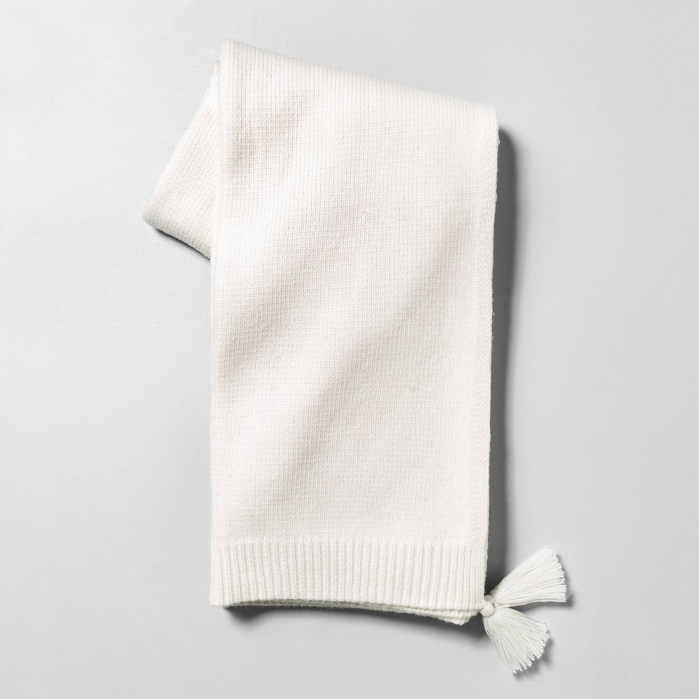 Image of Throw Blanket with Tassels Sour Cream - Hearth & Hand with Magnolia