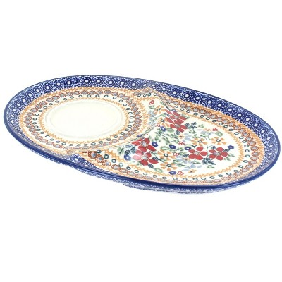 Blue Rose Polish Pottery Red Daisy Breakfast Plate
