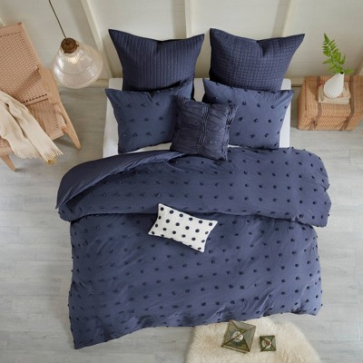 7pc Full/Queen Kay Cotton Jacquard Comforter Set Blue