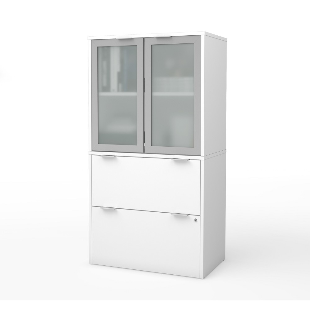 Image of 2 Drawer I3 Plus File Cabinet with Storage White - Bestar