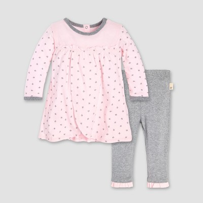 Burt's Bees Baby® Girls' Organic Cotton Sketched Bees T-Shirt & Pants Set - Blossom 6-9M
