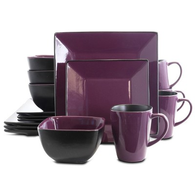 16pc Stoneware Berry Heart Square Dinnerware Set Purple - Elama