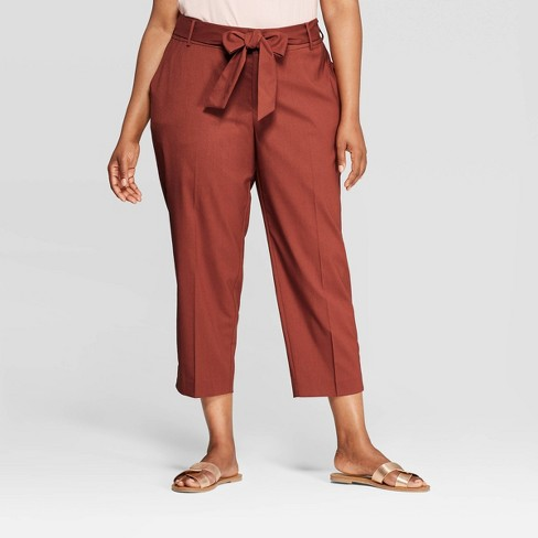 d190b2fac23 Women s Plus Size Tie Waist Ankle Pants with Comfort Waistband - Ava   Viv™  Brown