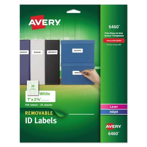 avery 1 x 2 5 8 inkjet laser removable i d labels white 750 pk