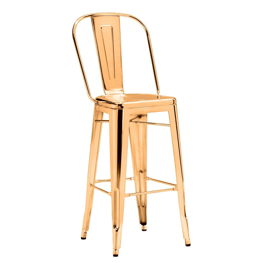 Industrial Style 30 Metal Barstool - Gold (Set of 2) - ZM Home