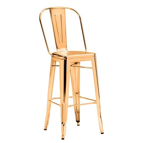 Industrial Style 30 Metal Barstool Gold Set Of 2 Zm Home Target