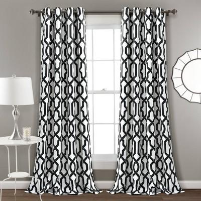 Edward Trellis Room Darkening Window Curtain Set Gray - Lush Décor