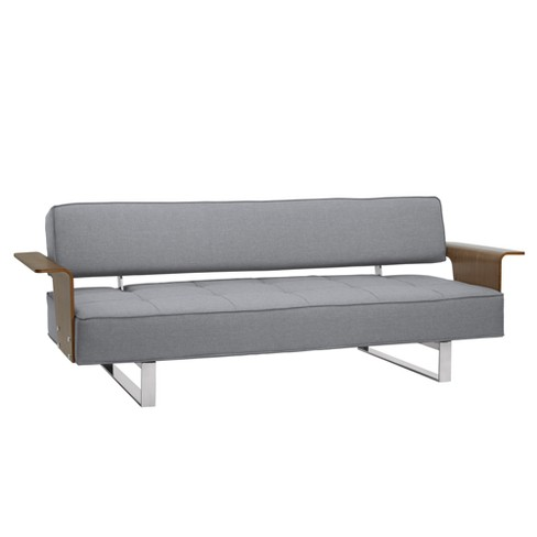 Taft Mid-Century Convertible Futon in Gray Tufted Fabric and Walnut Wood Full Gray - Armen Living - image 1 of 6
