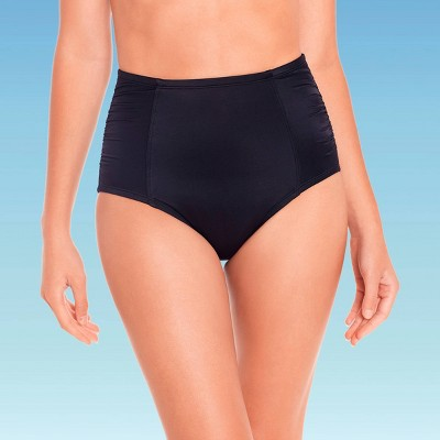 Women's Slimming Control High Waist Ruched Bikini Bottom - Beach Betty by Miracle Brands Black