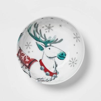 33oz Melamine Reindeer Dining Bowl White - Wondershop™