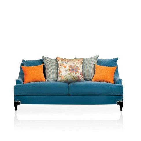 Zoren Retro Upholstered Sofa Peacock Blue - Furniture of America - image 1 of 2