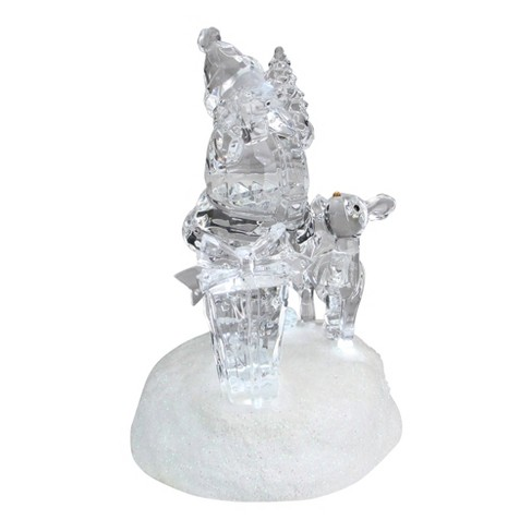 "Roman 5.25"" Prelit Clear Crystal LED Santa Claus with Reindeer Christmas Figure - image 1 of 3"