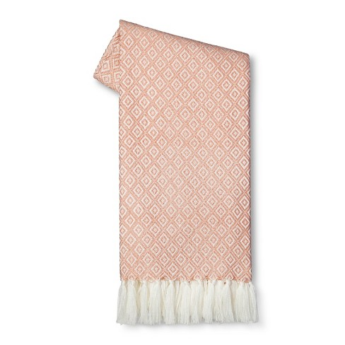 Metallic Geometric Sweater Knit Throw Blanket Pink - Threshold™ - image 1 of 1