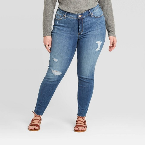 Women's Mid-Rise Skinny Raw Hem Ankle Jeans - Universal Thread™ Bright Blue - image 1 of 3
