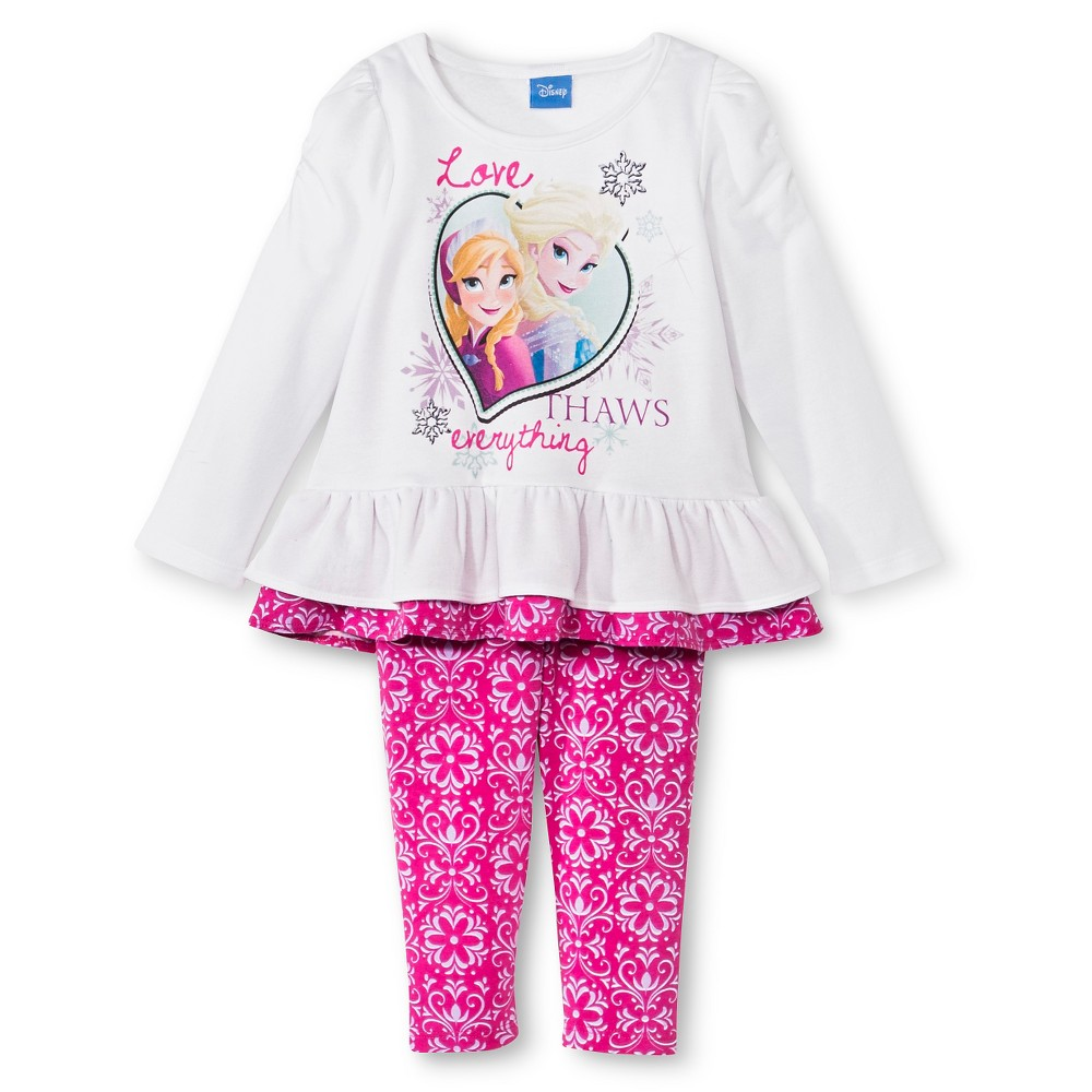 Toddler Girls' Disney Top And Bottom Sets 3T - White/Pink