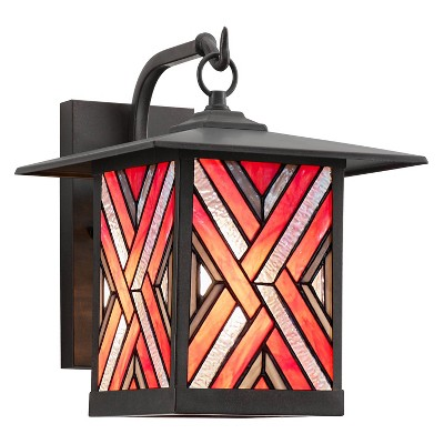 """11.75"""" Stained Glass 1-Light Geometric Bronze Outdoor Lantern Wall Sconce - River of Goods"""
