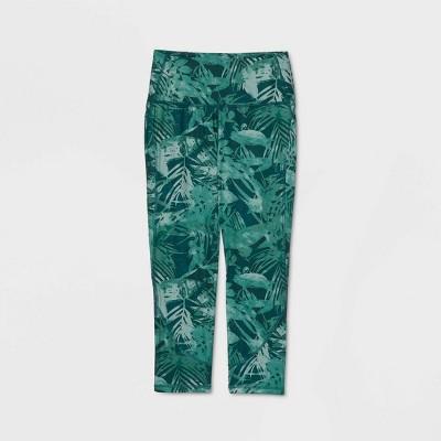 "Women's Tropical Print Contour Curvy High-Waisted Capri Leggings 21"" - All in Motion™ Green"
