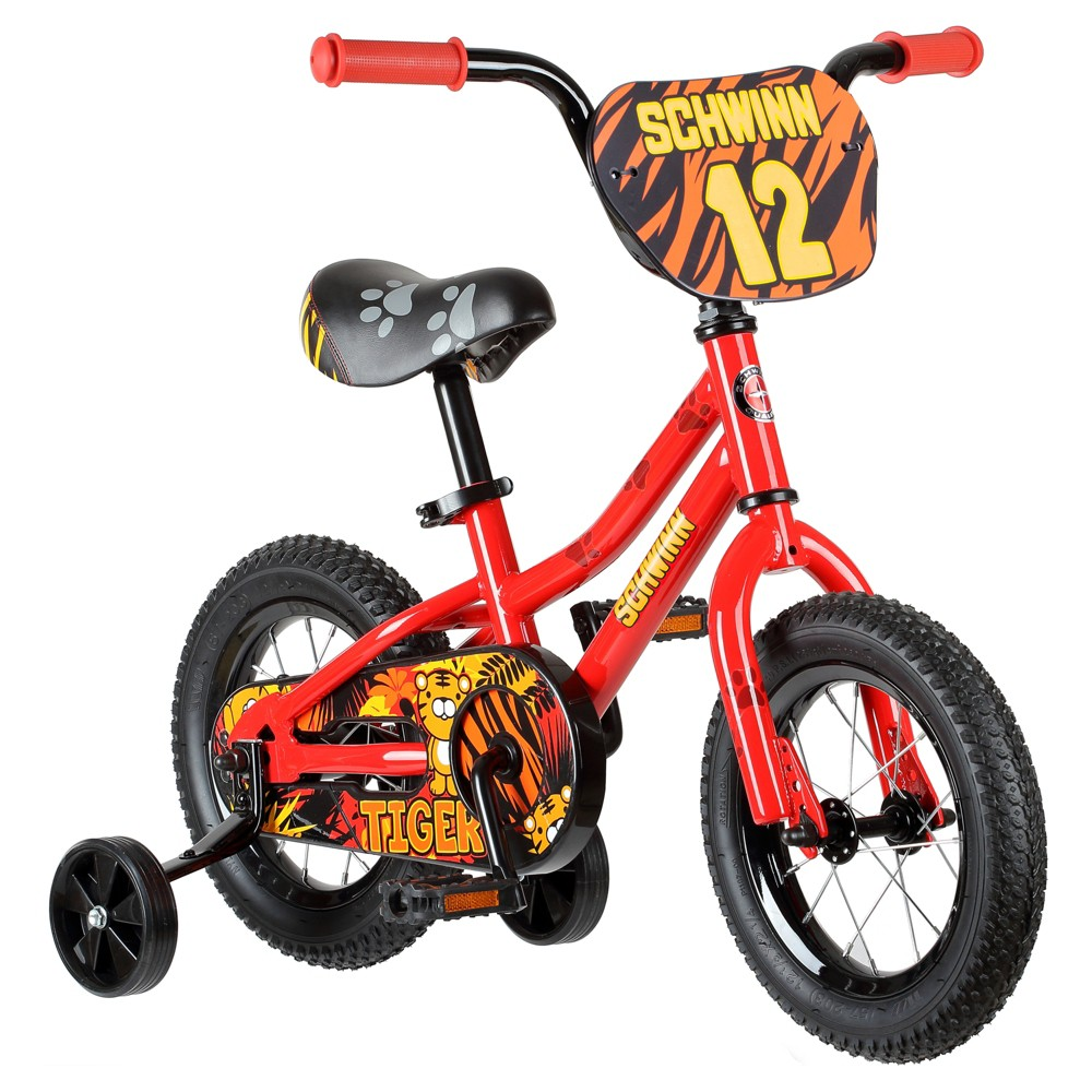 """Schwinn Tiger 12"""" Kids' Bike with Training Wheels - Red/Orange, Kids Unisex, Red Orange"""