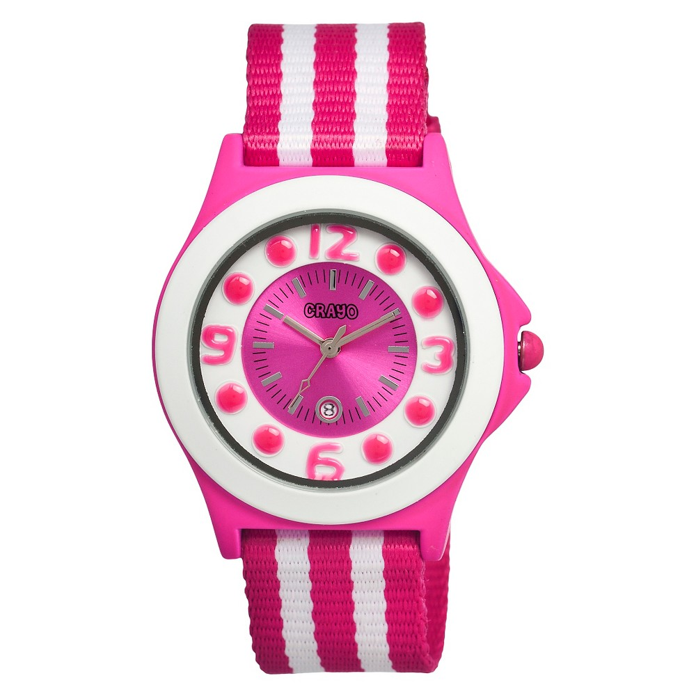 Women's Crayo Carnival Watch with Date Display and Two-Tone Nylon Strap-Pink/White, Pink