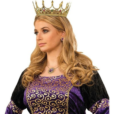 Forum Novelties Royal Queen Costume Crown Gold With Jewels Adult Women