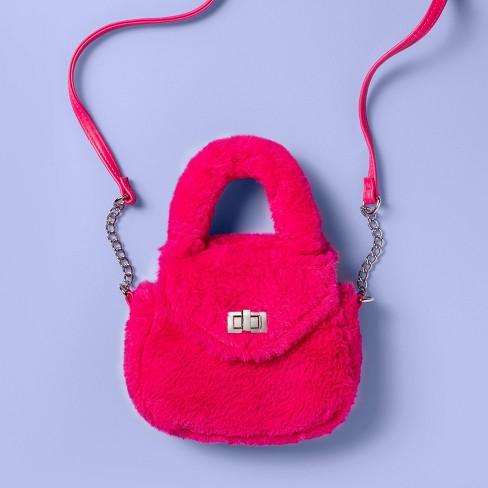 Girls' Faux Fur Top Handle Crossbody Bag - More Than Magic™ Pink - image 1 of 3