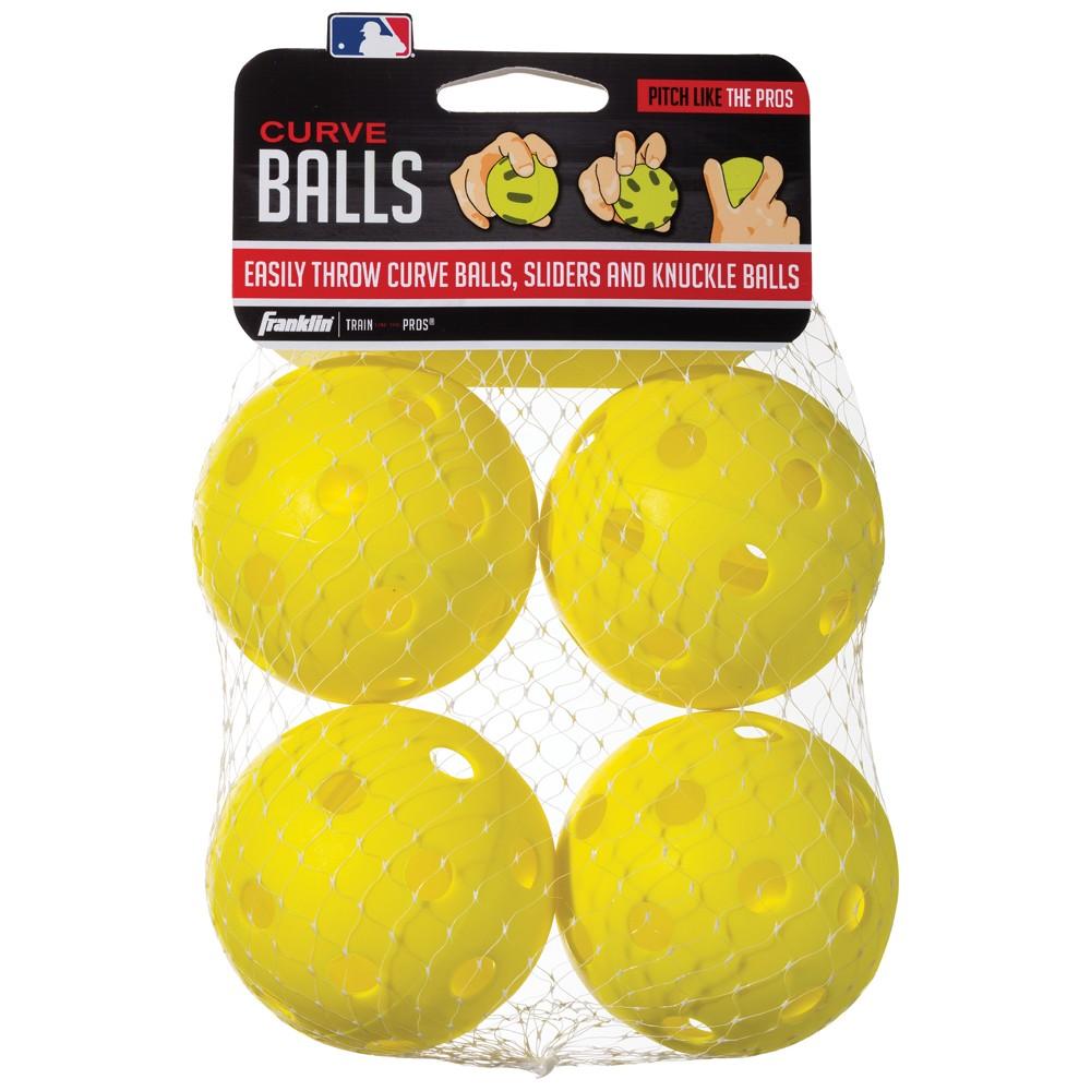 Franklin Sports MLB 90mm Curve Balls Yellow - 4pk, Multi-Colored