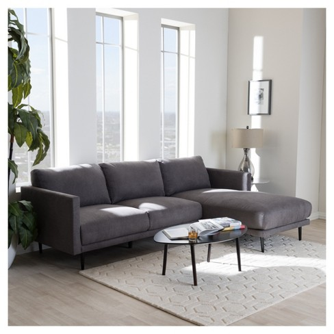 Riley Retro Mid Century Modern Fabric Upholstered Right Facing Chaise Sectional Sofa Gray Baxton Studio Target