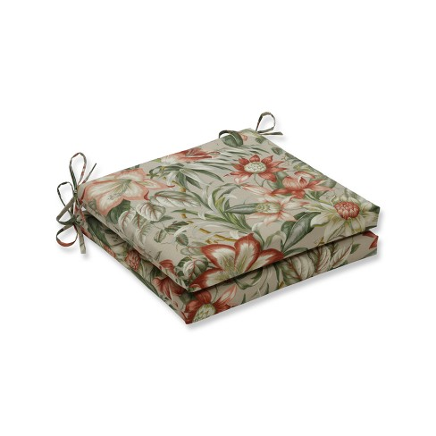 Indoor/Outdoor 2pc Botanical Glow Tiger Stripe Squared Corners Seat Cushion - Pillow Perfect - image 1 of 1