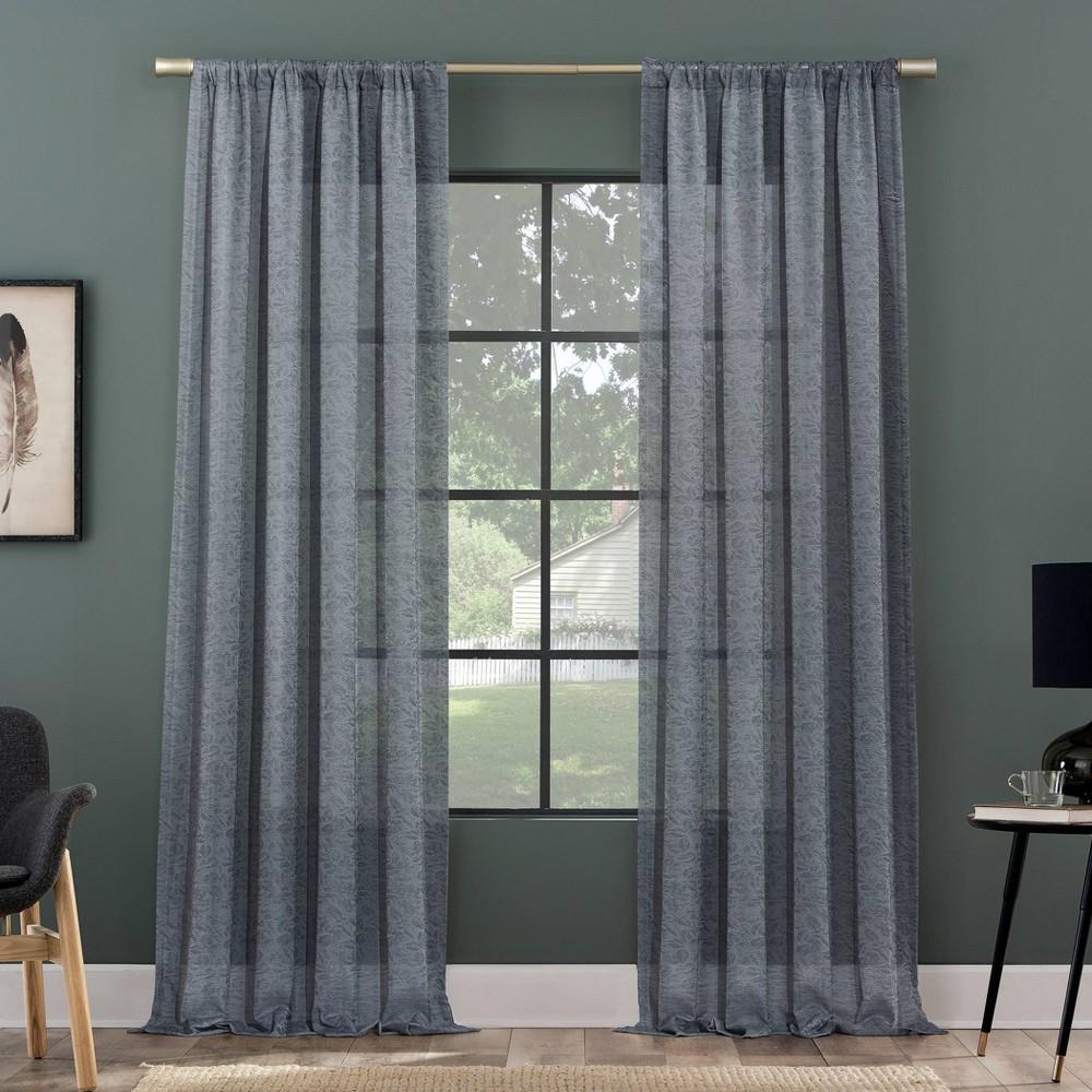 84 34 X50 34 Subtle Foliage Recycled Fiber Sheer Curtain Panel Denim Blue Clean Window