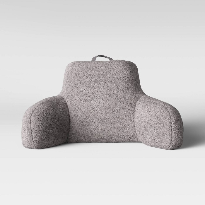 Sherpa Bed Rest Pillow Gray - Room Essentials™ - image 1 of 4