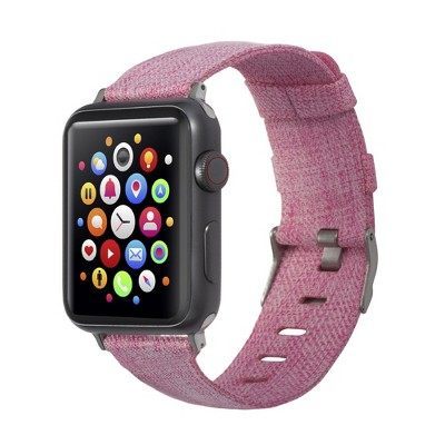 Insten Canvas Woven Fabric Band for Apple Watch 42mm 44mm All Series SE 6 5 4 3 2 1, For Women Girls Replacement Strap, Rose Red