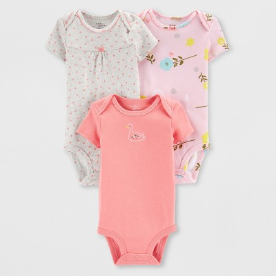 Little Plant Organic by carter's Baby Girls' 3pk Bodysuits - Pink/Peach Preemie