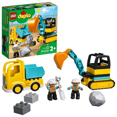 LEGO DUPLO Construction Truck & Tracked Excavator Digger and Tipper Building Site Toy 10931