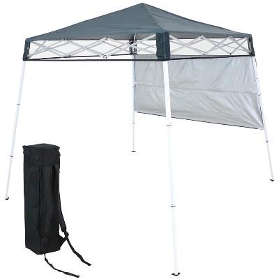 Sunnydaze 6' x 6' Top/7.5' x 7.25' Bottom Slant Leg Portable Backpack Canopy - Slate
