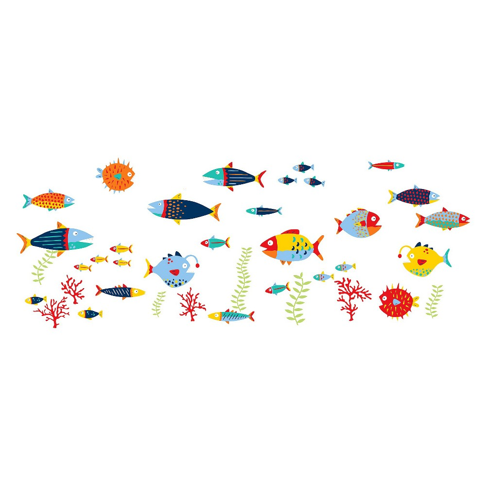 Image of WallPops! Fish Tales Wall Art Kit, Multi-Colored