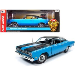 "1969 Plymouth Road Runner Hardtop Petty Blue ""Looney Tunes"" ""Class of 1969"" 1/18 Diecast Model Car by Autoworld"