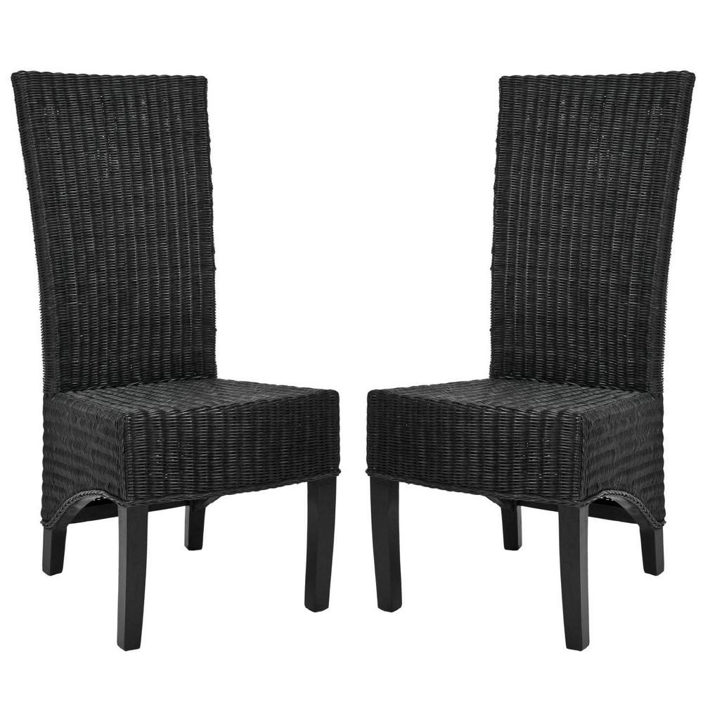 Siesta Wicker Dining Chair Black (Set of 2) - Safavieh