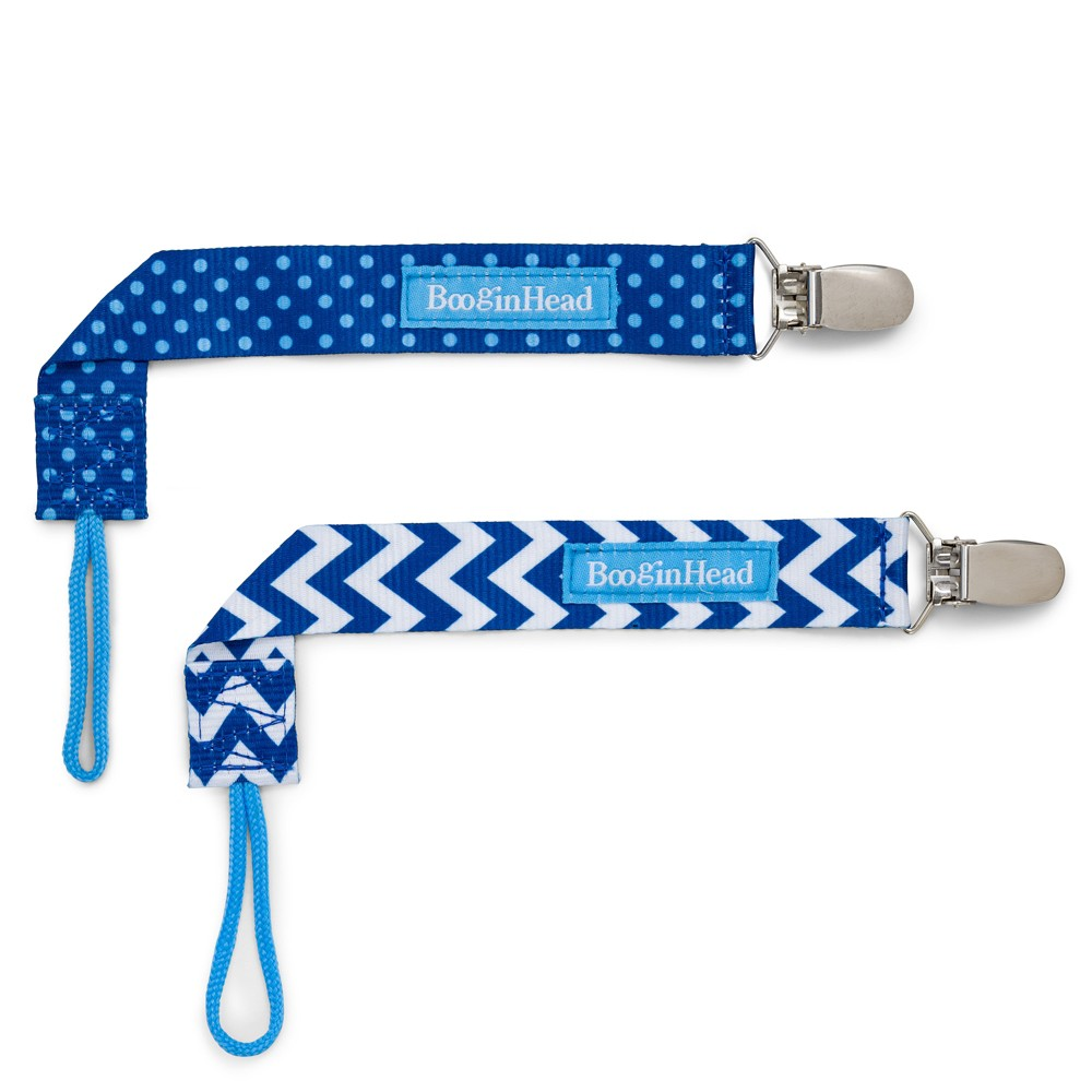 Image of BooginHead 2pk PaciGrip Pacifier Clip Pacifier Holder Blue Chevron - Blue Dots